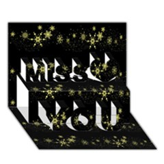 Yellow Elegant Xmas Snowflakes Miss You 3d Greeting Card (7x5)