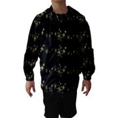 Yellow elegant Xmas snowflakes Hooded Wind Breaker (Kids)