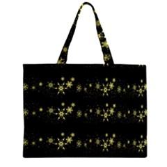 Yellow elegant Xmas snowflakes Large Tote Bag