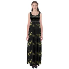 Yellow elegant Xmas snowflakes Empire Waist Maxi Dress