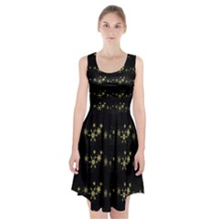 Yellow elegant Xmas snowflakes Racerback Midi Dress