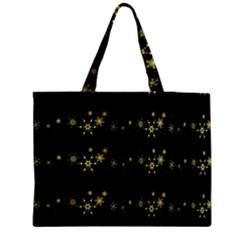 Yellow elegant Xmas snowflakes Medium Zipper Tote Bag