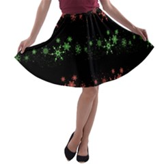 Decorative Xmas snowflakes A-line Skater Skirt