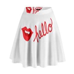 Hello Lip Red Sexy High Waist Skirt