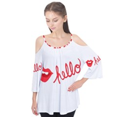 Hello Lip Red Sexy Flutter Tees