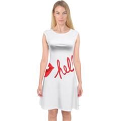 Hello Lip Red Sexy Capsleeve Midi Dress