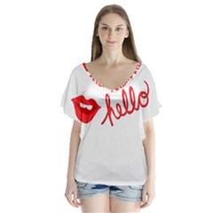 Hello Lip Red Sexy Flutter Sleeve Top