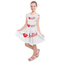 Hello Lip Red Sexy Kids  Short Sleeve Dress