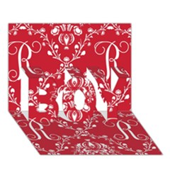 Initial Damask Red Paper Boy 3d Greeting Card (7x5)