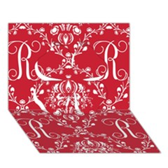 Initial Damask Red Paper Clover 3d Greeting Card (7x5)