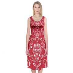 Initial Damask Red Paper Midi Sleeveless Dress