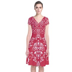 Initial Damask Red Paper Short Sleeve Front Wrap Dress