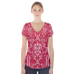 Initial Damask Red Paper Short Sleeve Front Detail Top
