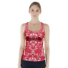 Initial Damask Red Paper Racer Back Sports Top