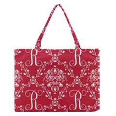Initial Damask Red Paper Medium Zipper Tote Bag