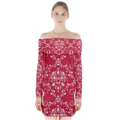 Initial Damask Red Paper Long Sleeve Off Shoulder Dress