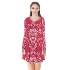 Initial Damask Red Paper Flare Dress