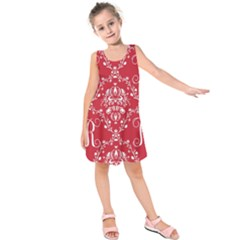 Initial Damask Red Paper Kids  Sleeveless Dress