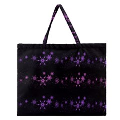 Purple elegant Xmas Zipper Large Tote Bag