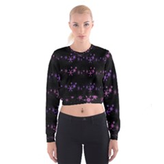 Purple elegant Xmas Women s Cropped Sweatshirt