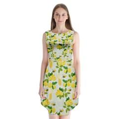Lemon Print Fruite Juise Fress Drink Sleeveless Chiffon Dress