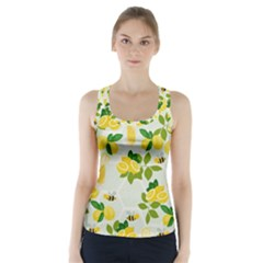 Lemon Print Fruite Juise Fress Drink Racer Back Sports Top