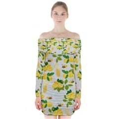Lemon Print Fruite Juise Fress Drink Long Sleeve Off Shoulder Dress