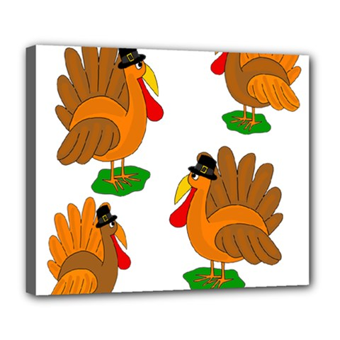 Thanksgiving turkeys Deluxe Canvas 24  x 20
