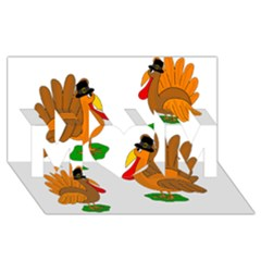 Thanksgiving turkeys MOM 3D Greeting Card (8x4)