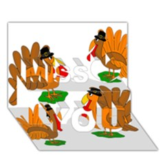 Thanksgiving Turkeys Miss You 3d Greeting Card (7x5)