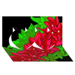 Xmas Red Flowers Twin Hearts 3d Greeting Card (8x4)