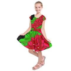 Xmas Red Flowers Kids  Short Sleeve Dress