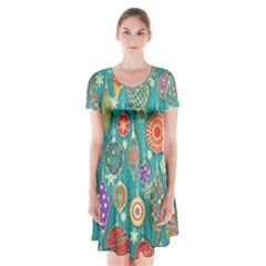 Ornaments Homemade Christmas Ornament Crafts Short Sleeve V-neck Flare Dress