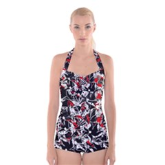 Red abstract flowers Boyleg Halter Swimsuit