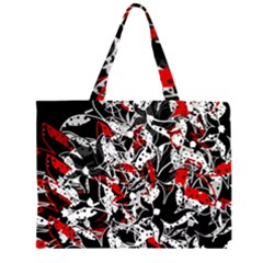 Red abstract flowers Zipper Large Tote Bag