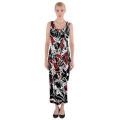 Red abstract flowers Fitted Maxi Dress