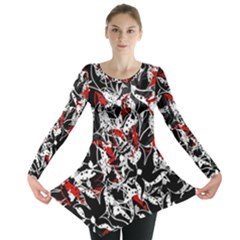 Red abstract flowers Long Sleeve Tunic
