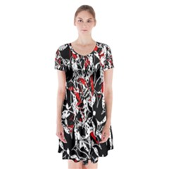 Red abstract flowers Short Sleeve V-neck Flare Dress