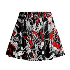 Red abstract flowers Mini Flare Skirt