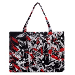 Red Abstract Flowers Medium Zipper Tote Bag