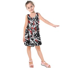 Red abstract flowers Kids  Sleeveless Dress