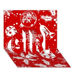 Red Winter Holiday Pattern Red Christmas Girl 3d Greeting Card (7x5)