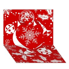 Red Winter Holiday Pattern Red Christmas Heart 3d Greeting Card (7x5)