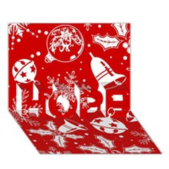 Red Winter Holiday Pattern Red Christmas Hope 3d Greeting Card (7x5)