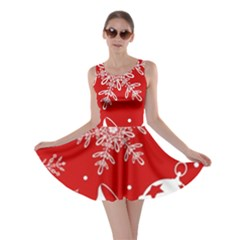 Red Winter Holiday Pattern Red Christmas Skater Dress