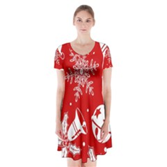 Red Winter Holiday Pattern Red Christmas Short Sleeve V Neck Flare Dress