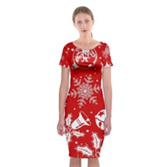 Red Winter Holiday Pattern Red Christmas Classic Short Sleeve Midi Dress