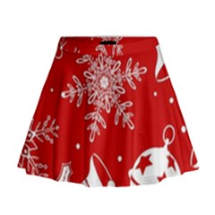 Red Winter Holiday Pattern Red Christmas Mini Flare Skirt