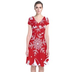 Red Winter Holiday Pattern Red Christmas Short Sleeve Front Wrap Dress