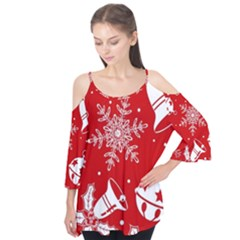 Red Winter Holiday Pattern Red Christmas Flutter Tees